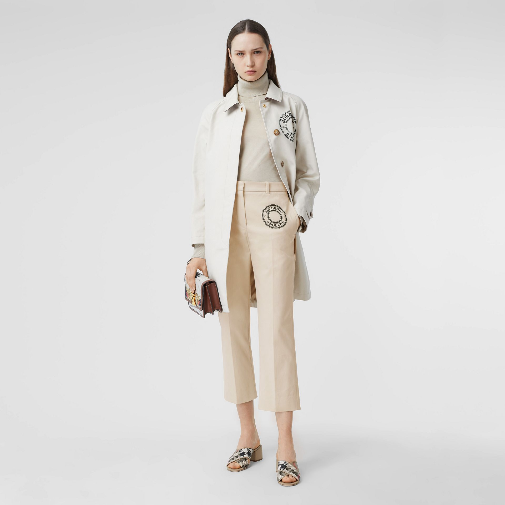 Logo Graphic Stretch Cotton Canvas Tailored Trousers in Pale Cream - Women | Burberry Hong Kong S.A.R - gallery image 0