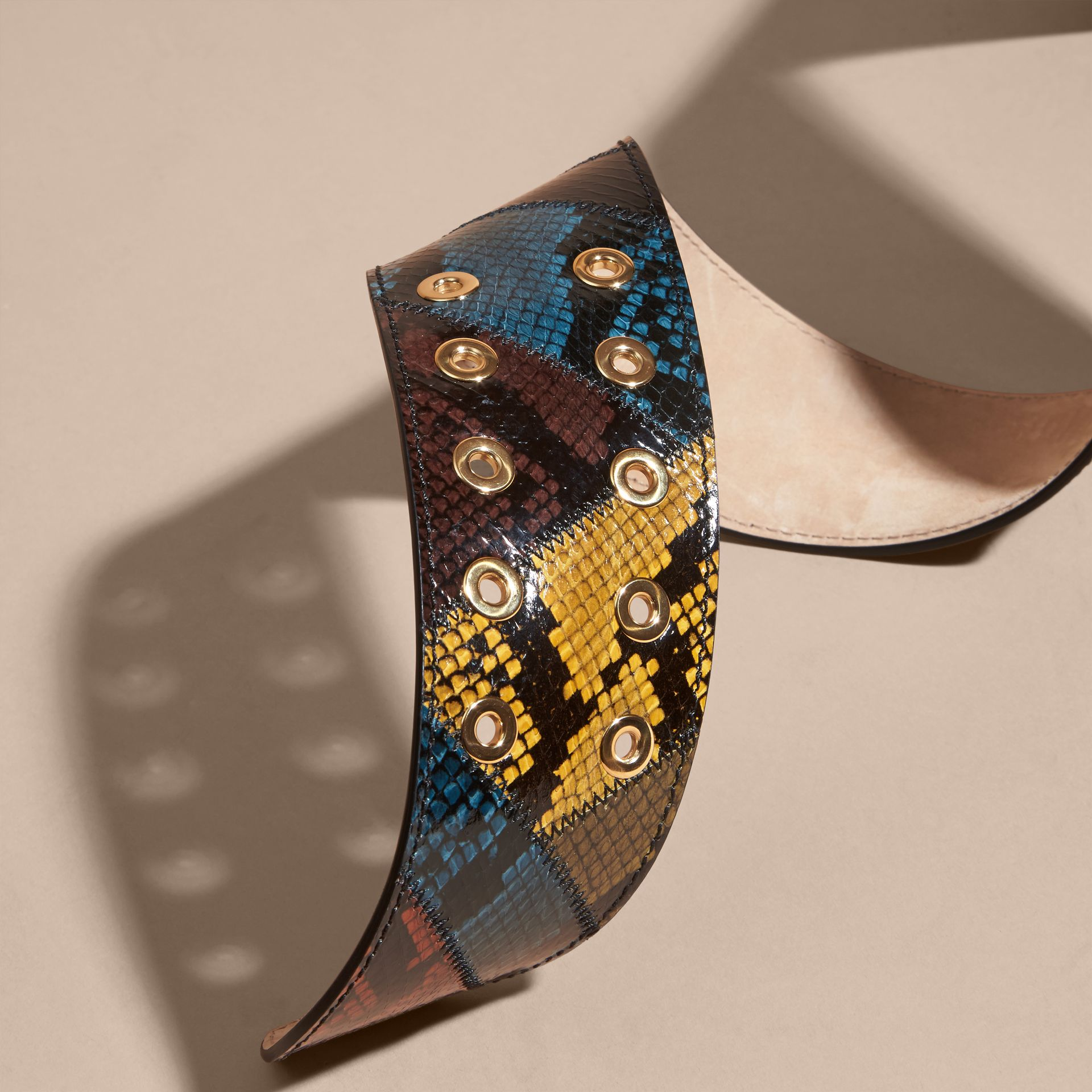 Snakeskin Intarsia Waist Belt in Tan - Women | Burberry Singapore - gallery image 3