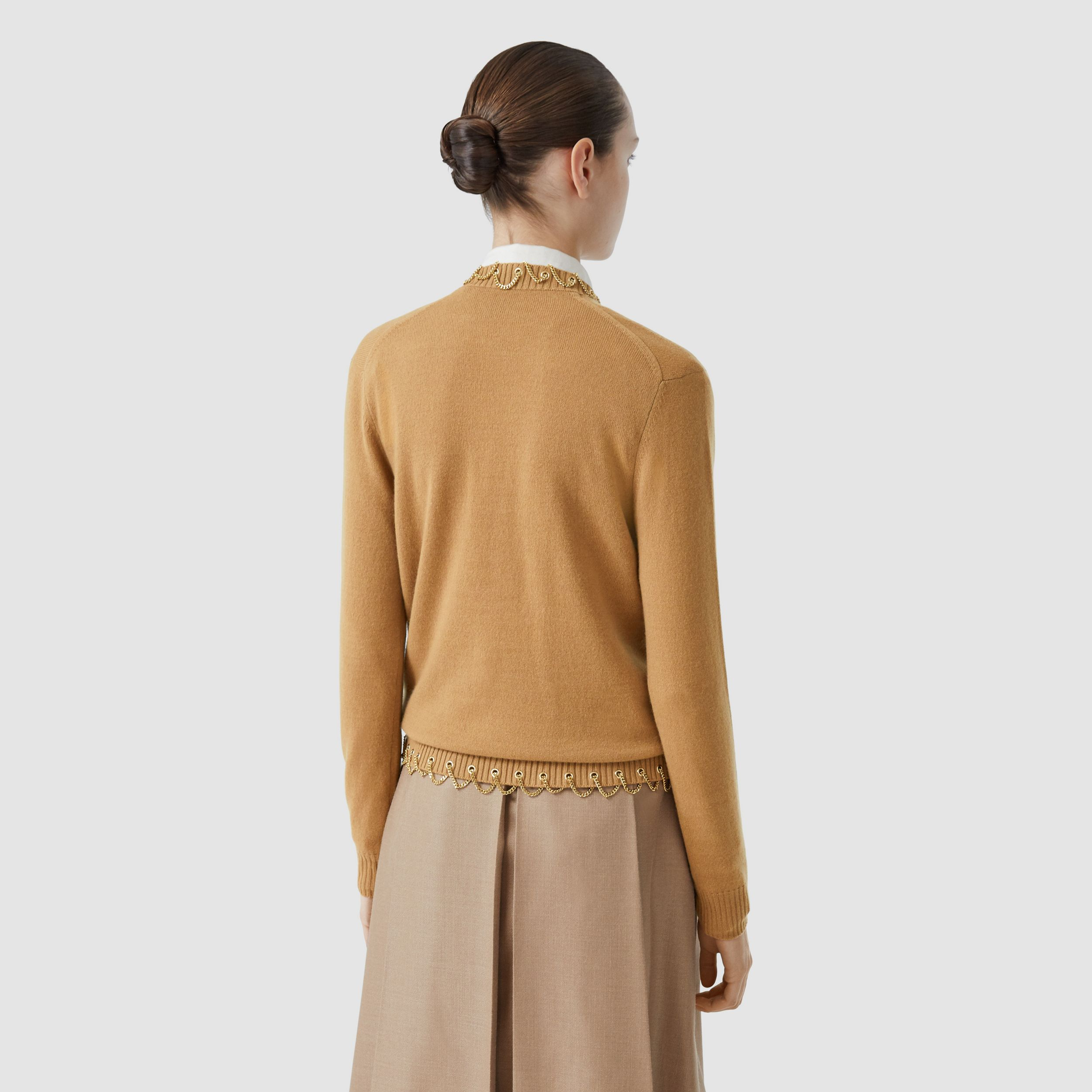Chain Detail Cashmere Sweater in Camel - Women | Burberry - 3