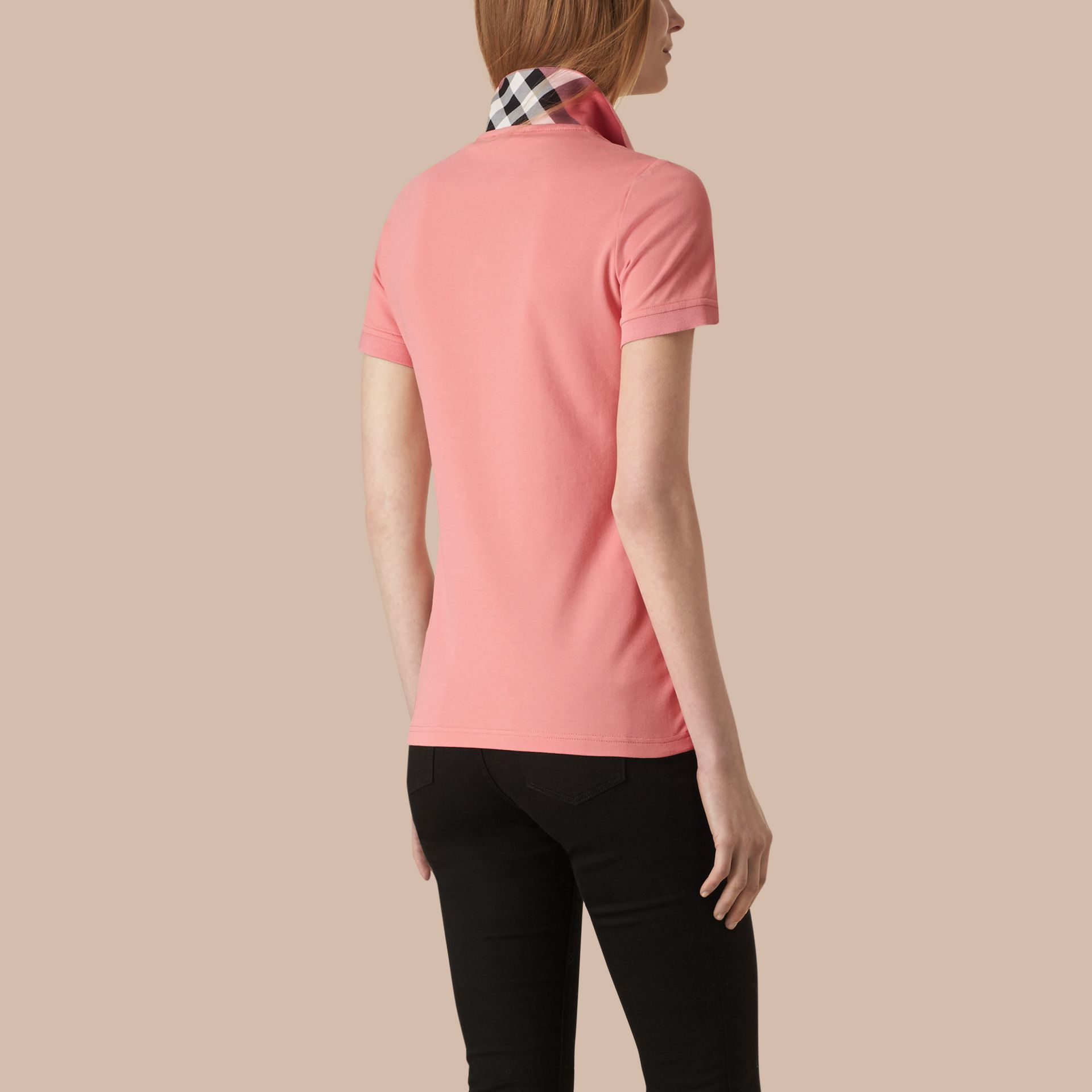Check Trim Stretch Cotton Piqué Polo Shirt Carnation Pink - gallery image 3