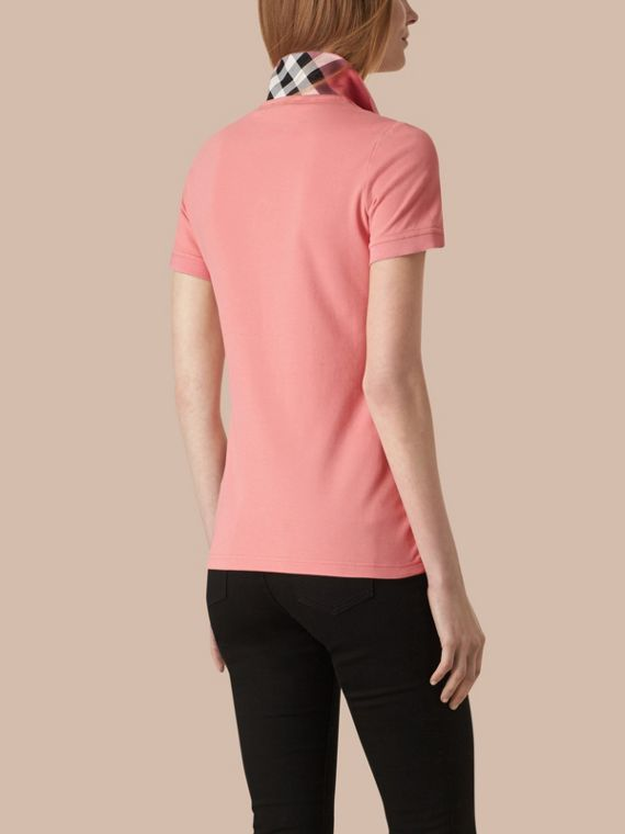Check Trim Stretch Cotton Piqué Polo Shirt Carnation Pink - cell image 2