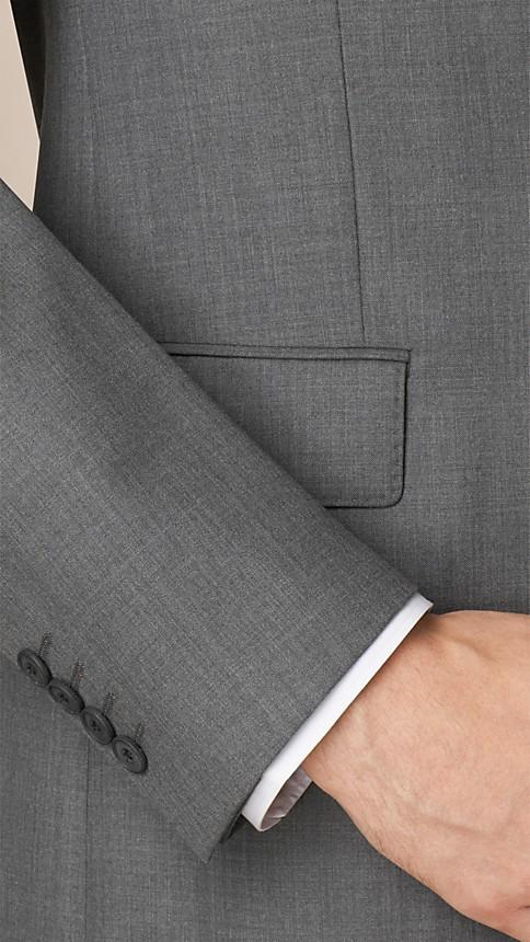 Mid grey melange Classic Fit Wool Part-canvas Suit - Image 4