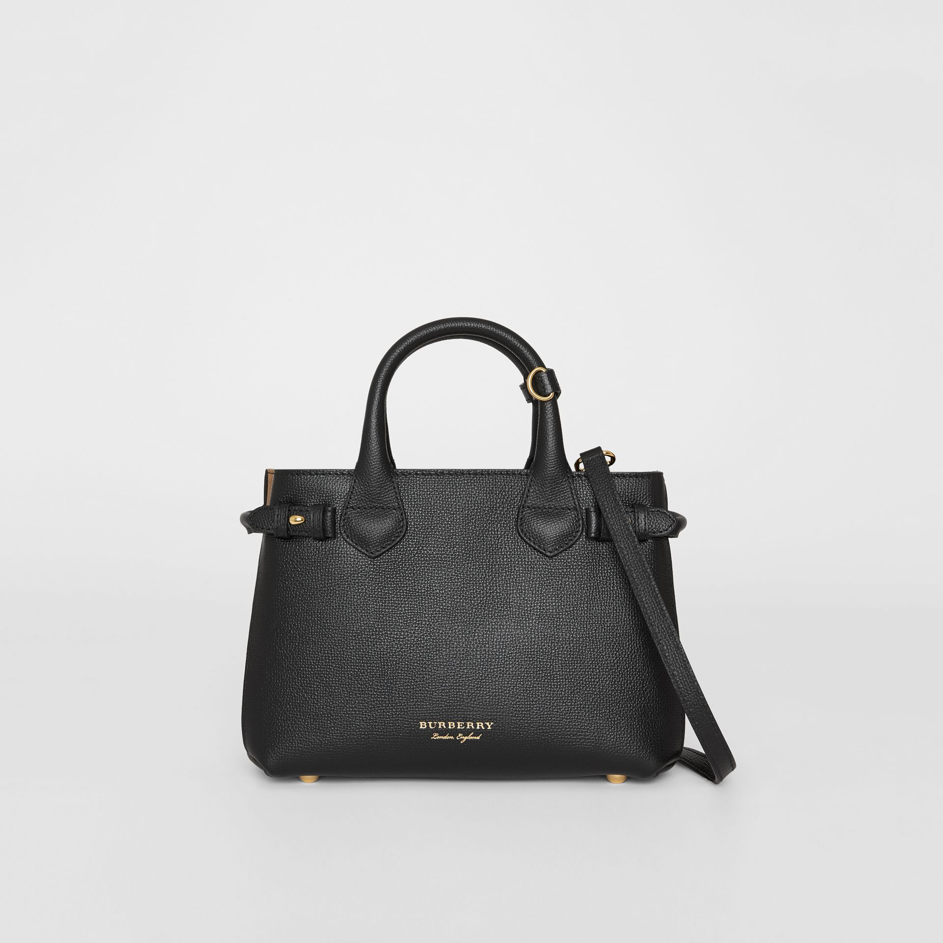 The Small Banner in Leather and House Check in Black - Women | Burberry United Kingdom - gallery image 0
