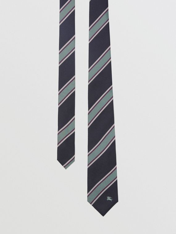 Modern Cut Striped Silk Jacquard Tie in Dark Indigo Blue