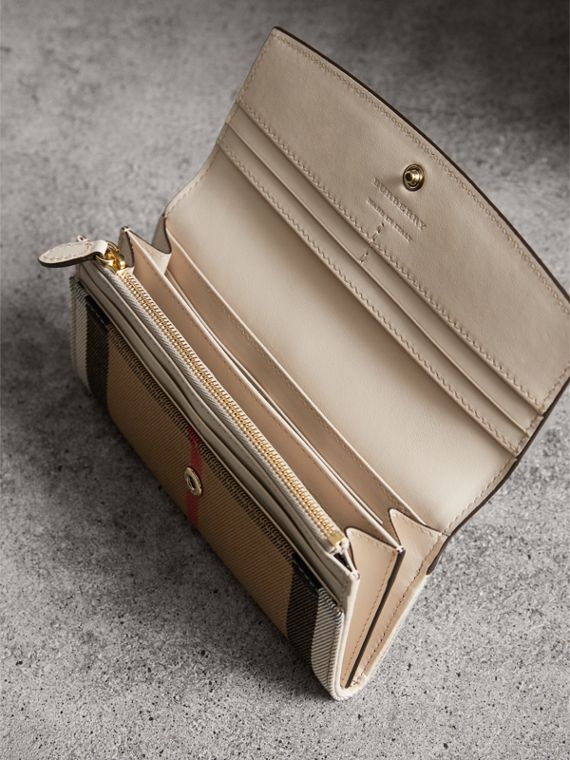 House Check And Leather Continental Wallet in Limestone - Women | Burberry - cell image 3