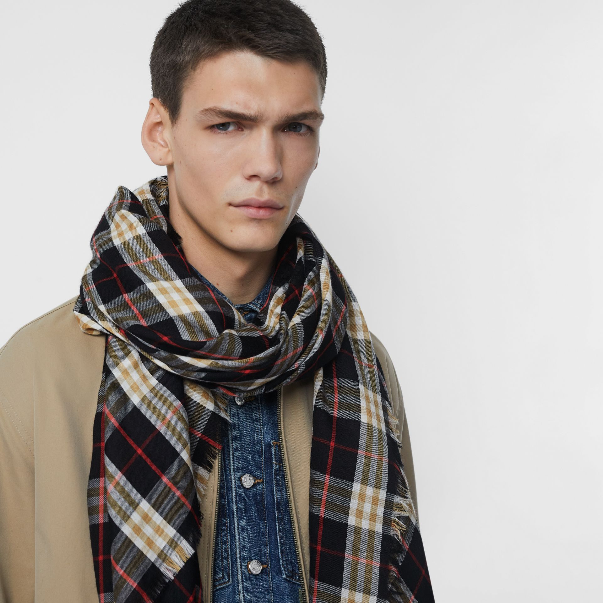 Vintage Check Lightweight Cashmere Scarf in Black | Burberry Canada - gallery image 6