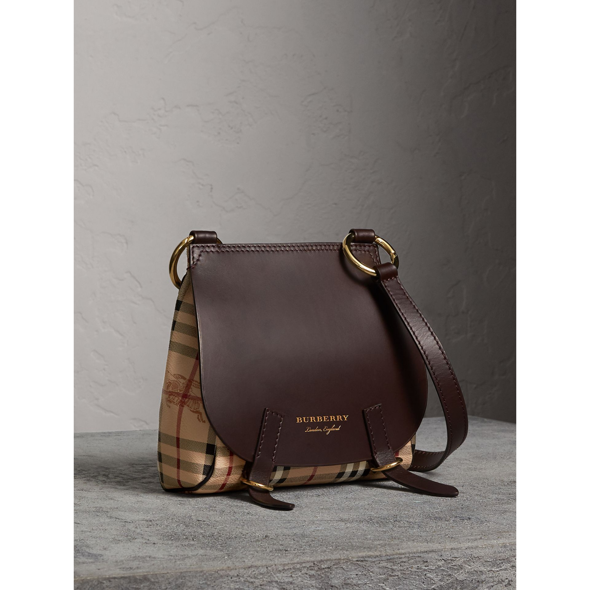 The Bridle Crossbody Bag in Haymarket Check in Dark Clove Brown - Women | Burberry United Kingdom - gallery image 1