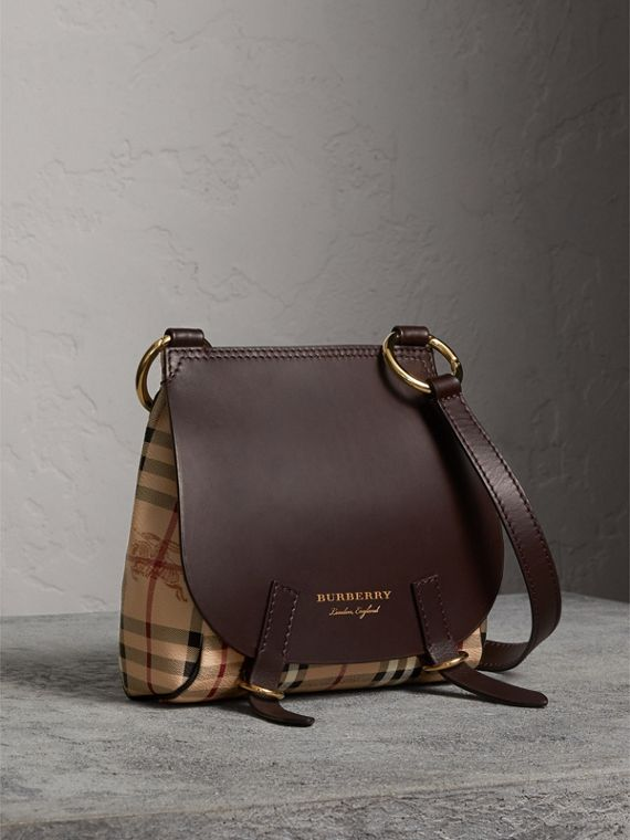 The Bridle Crossbody Bag in Haymarket Check in Dark Clove Brown