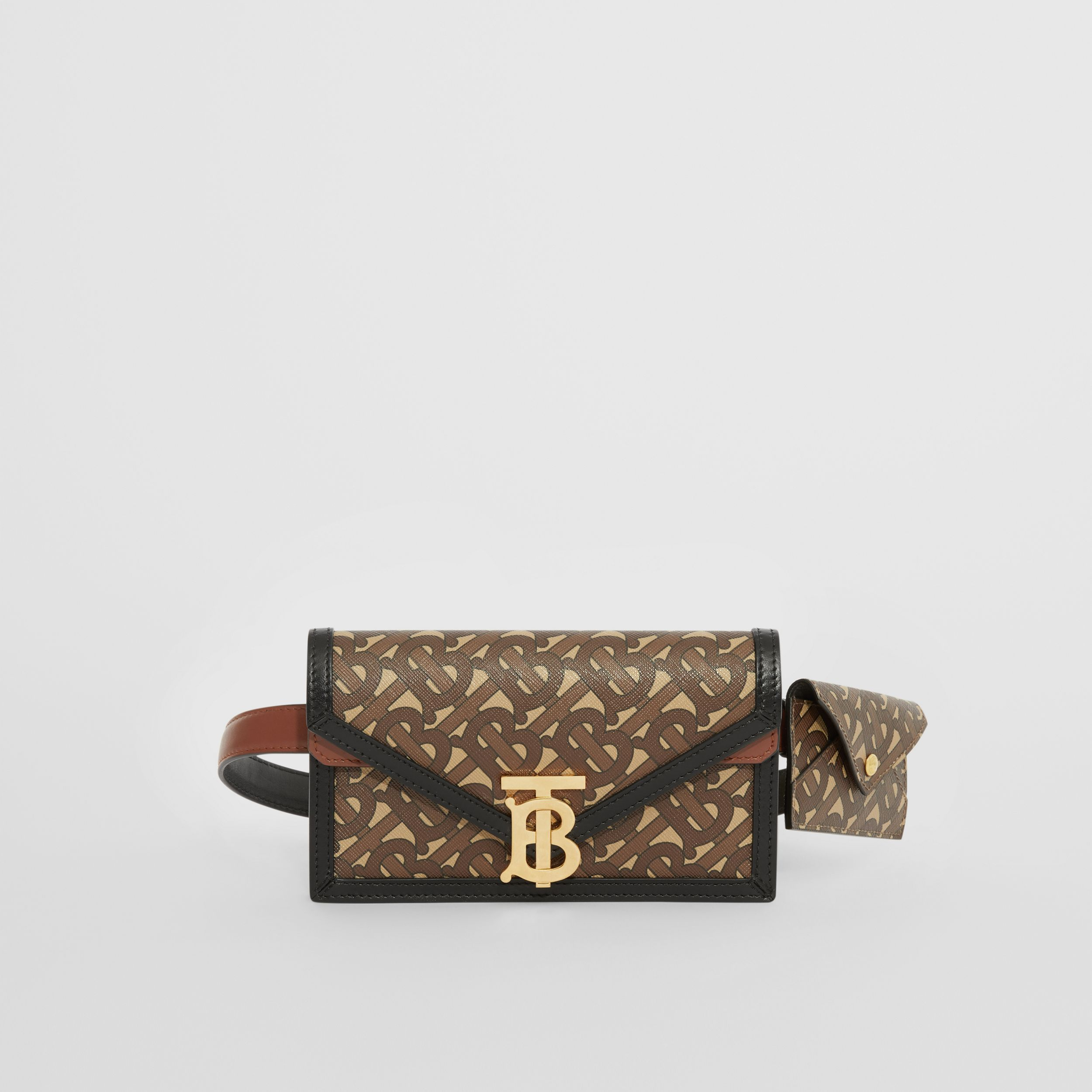 Belted Monogram E-canvas TB Envelope Clutch in Bridle Brown - Women | Burberry - 1