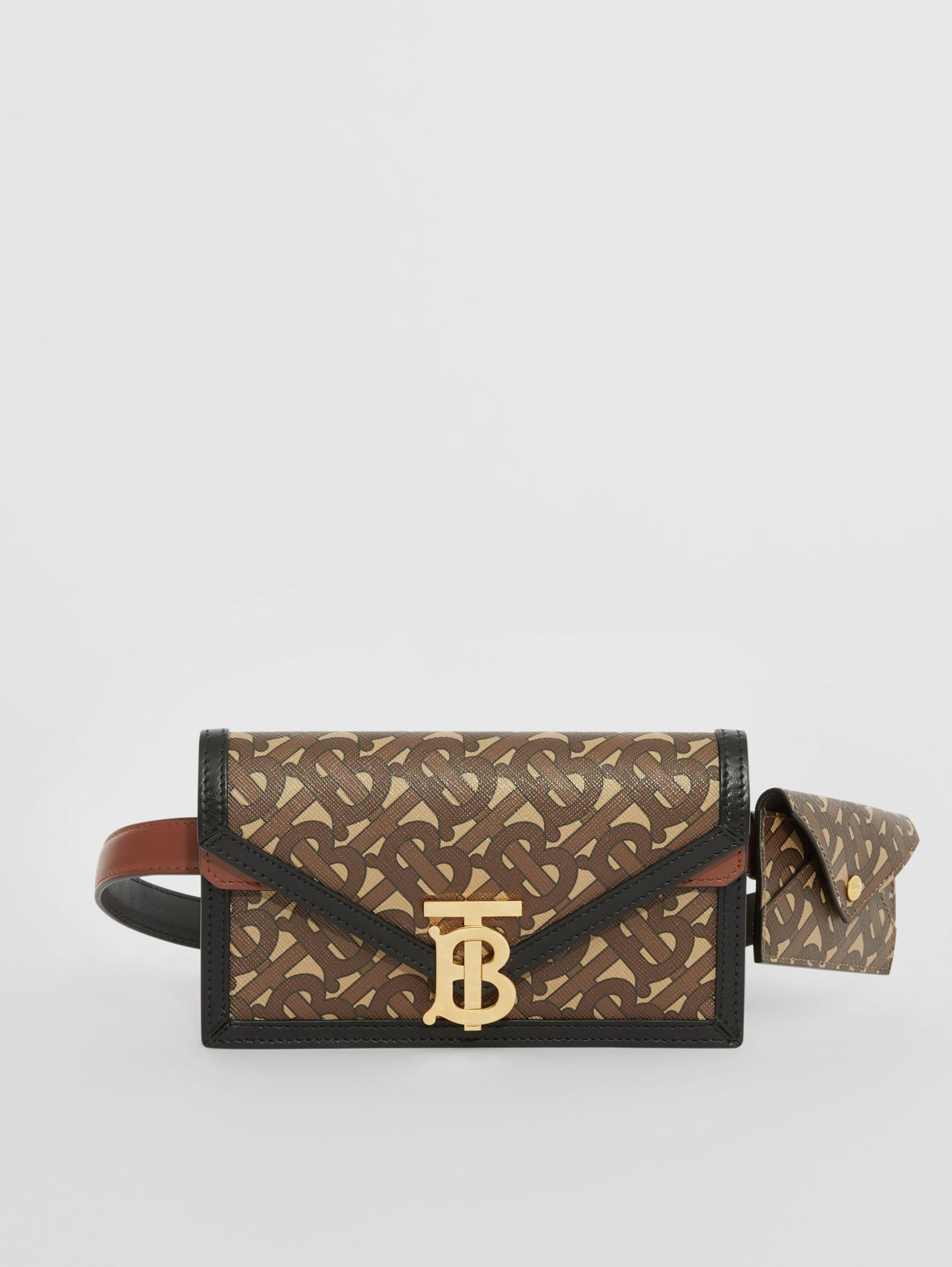 Belted Monogram E-canvas TB Envelope Clutch in Bridle Brown