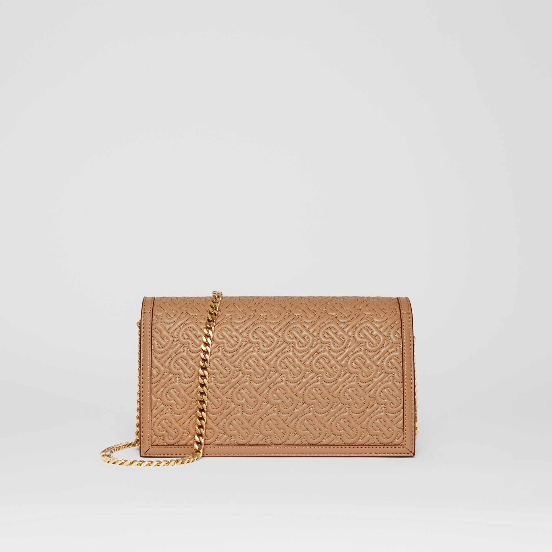 Small Quilted Monogram TB Envelope Clutch in Honey - Women | Burberry - gallery image 5