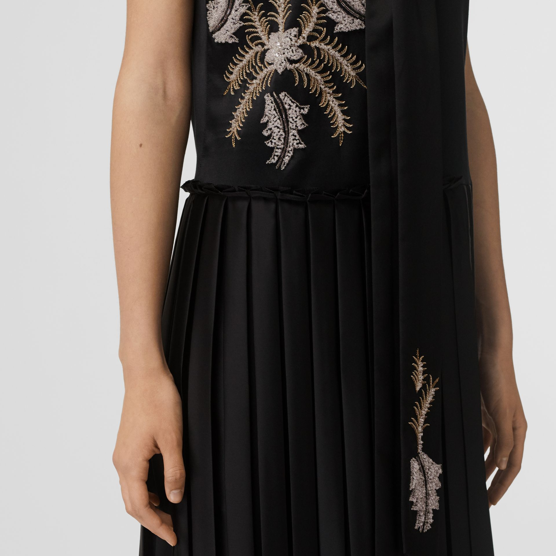 Bead-embellished Silk Satin Asymmetric Dress in Black - Women | Burberry United Kingdom - gallery image 1