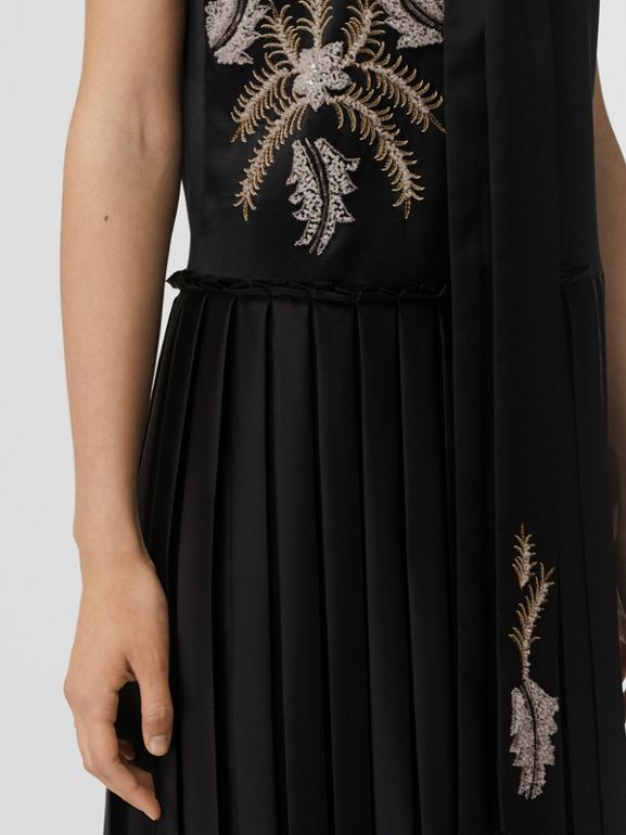 Bead-embellished Silk Satin Asymmetric Dress in Black - Women | Burberry Canada - cell image 1