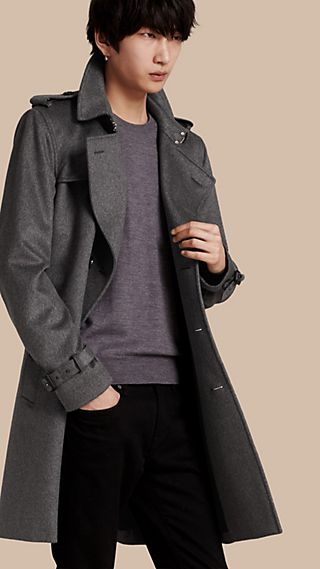 Leather Trim Cashmere Trench Coat