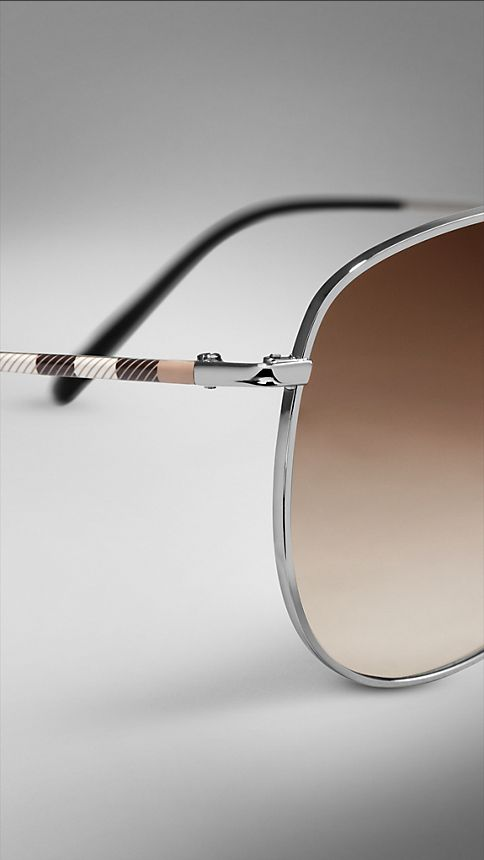 Nickel Check Arm Aviator Sunglasses - Image 5