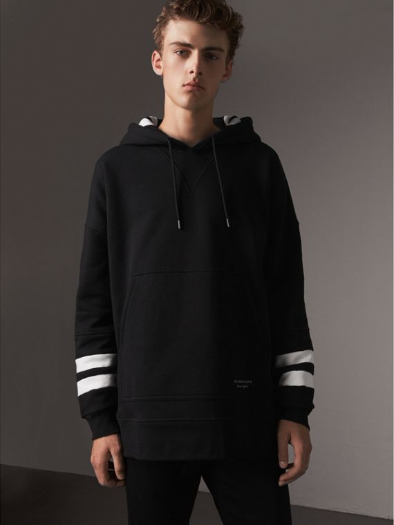Bold Stripe Detail Oversize Hooded Sweatshirt in Black