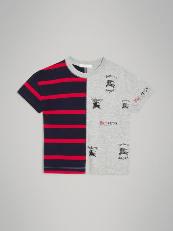 Archive Logo Print Striped Cotton T-shirt in Parade Red