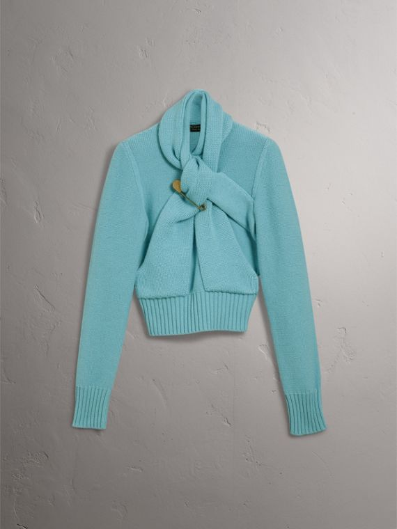 Cashmere Tie-neck Sweater in Powder Blue - Women | Burberry - cell image 3