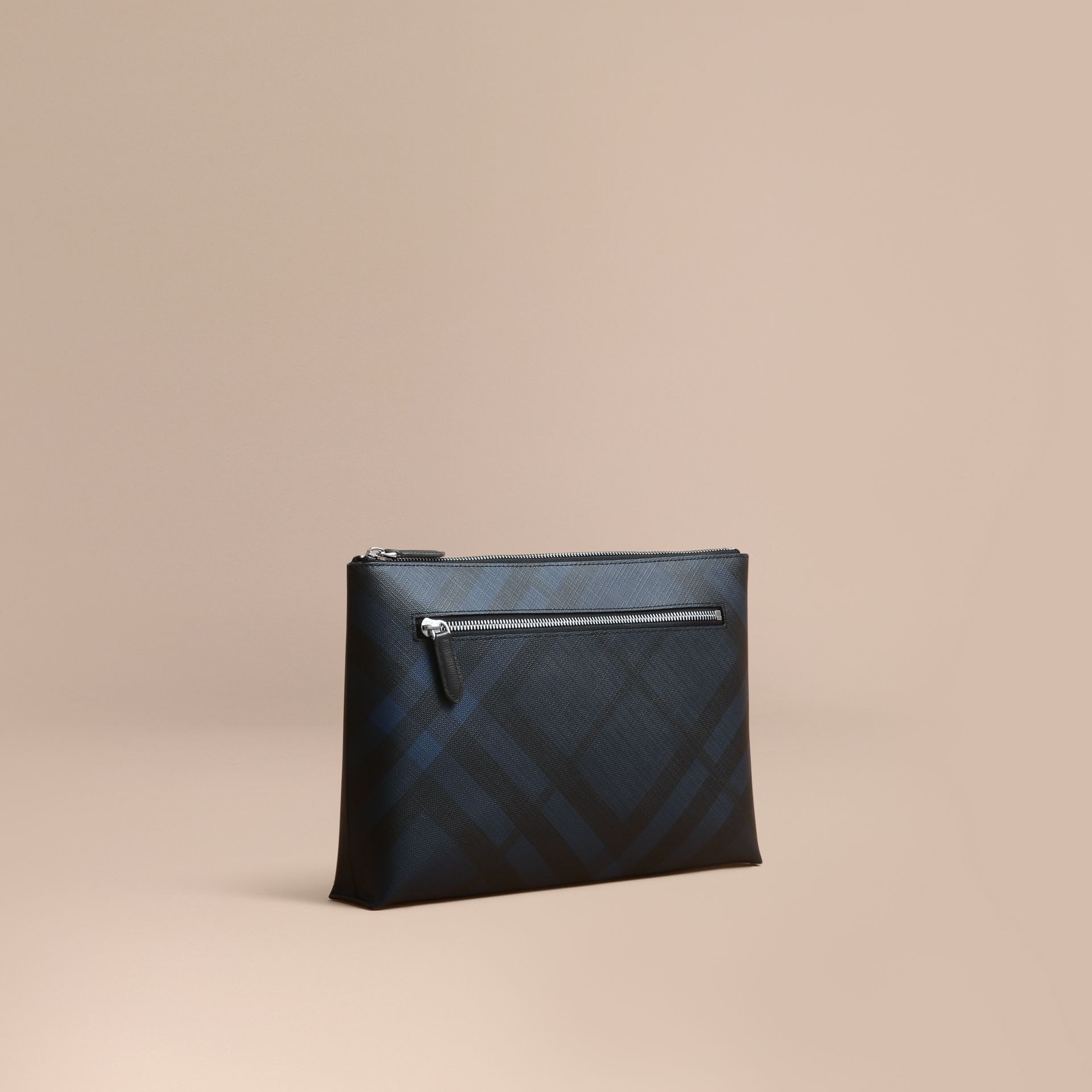 Large London Check Zip Pouch in Navy/black - Men | Burberry Australia - gallery image 1