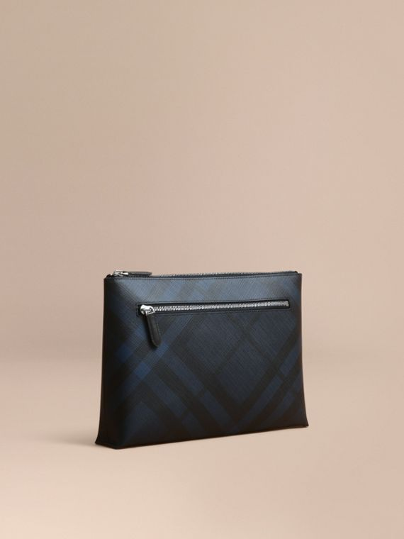 Large London Check Zip Pouch in Navy/black - Men | Burberry