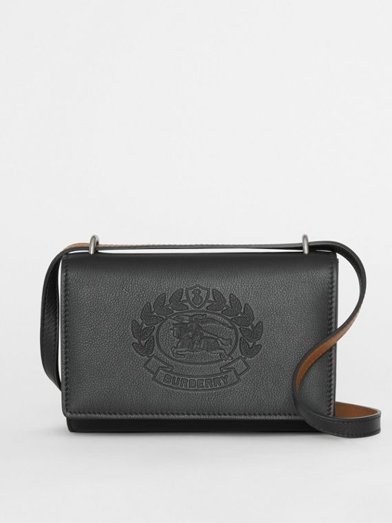 Embossed Crest Leather Wallet with Detachable Strap in Black