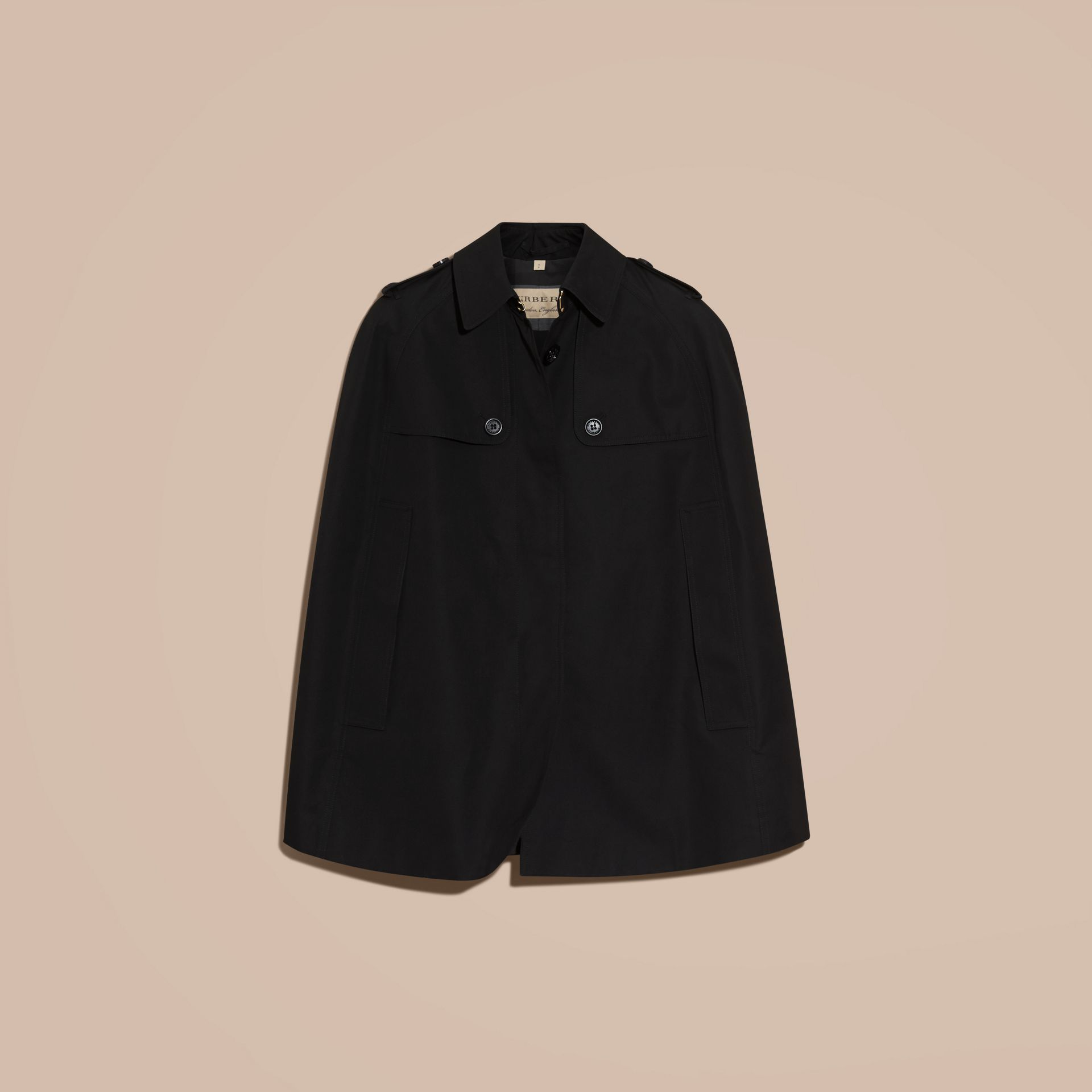 Black Cotton Gabardine Trench Cape - gallery image 4