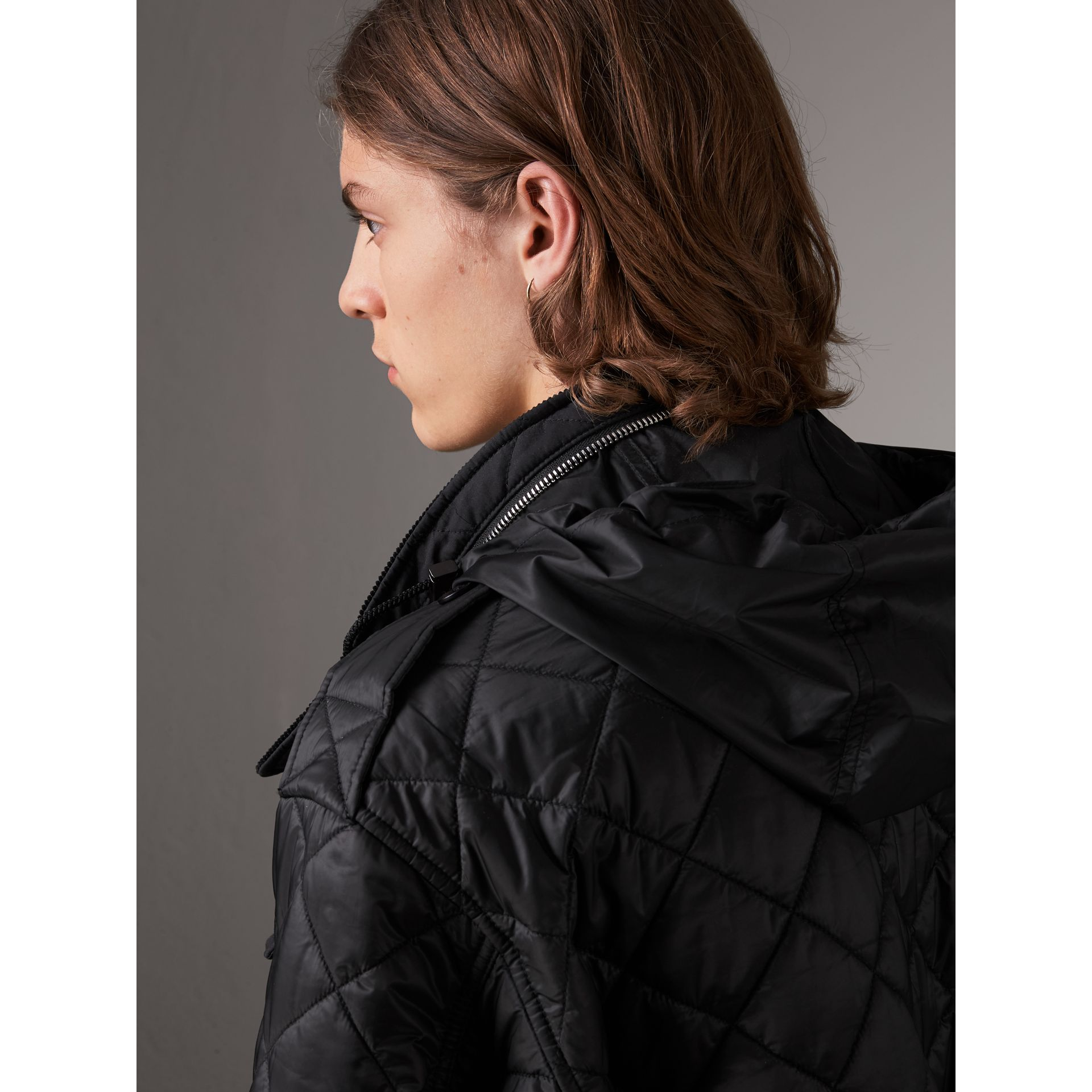 Packaway Hood Diamond Quilted Field Jacket in Black - Men | Burberry - gallery image 5