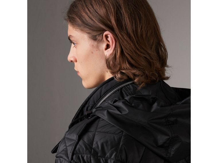 Packaway Hood Diamond Quilted Field Jacket in Black - Men | Burberry United Kingdom - cell image 4