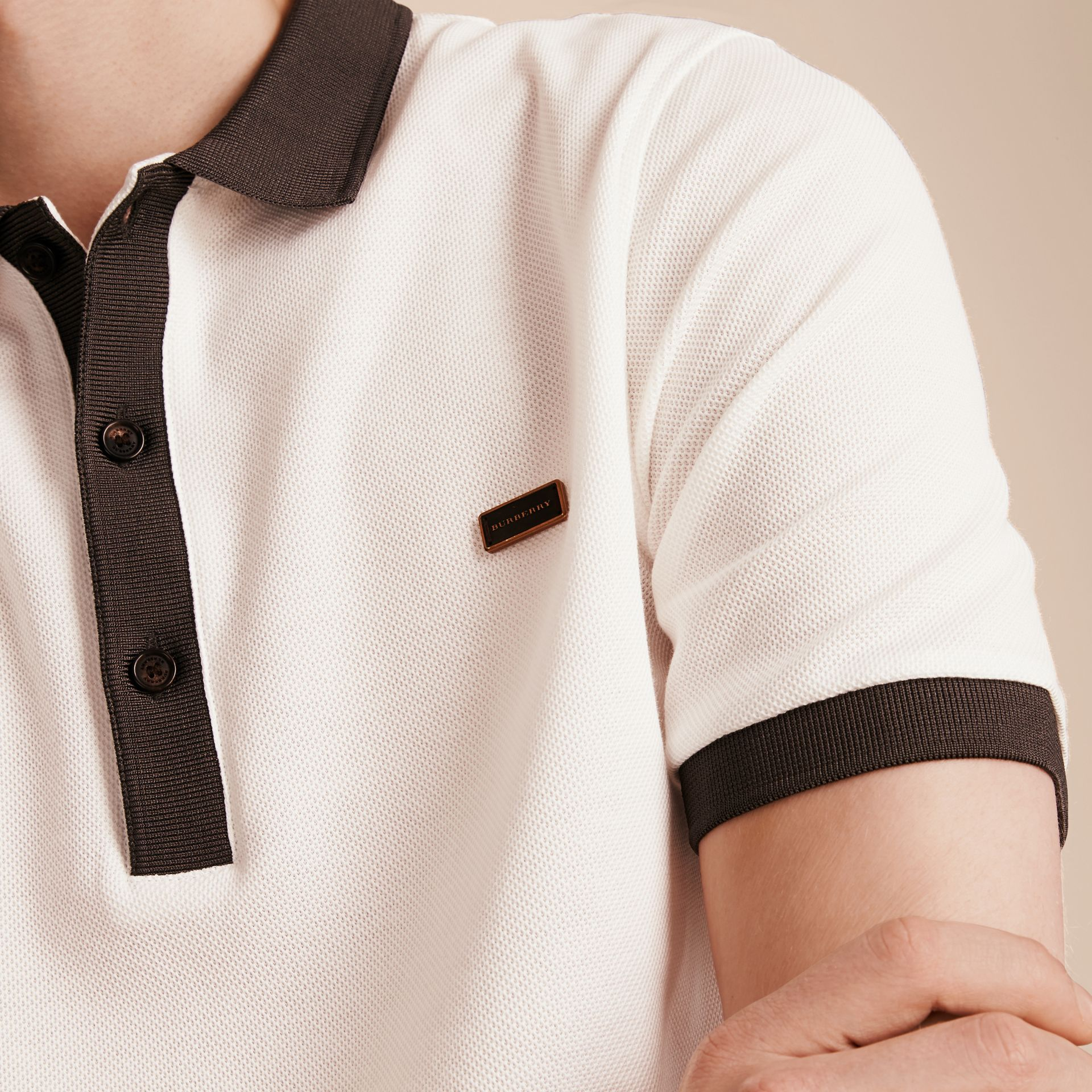 White/charcoal Mercerised Cotton Piqué Polo Shirt White/charcoal - gallery image 5