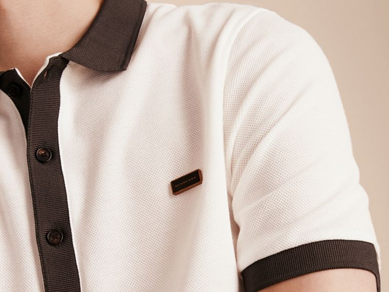 White/charcoal Mercerised Cotton Piqué Polo Shirt White/charcoal - cell image 4