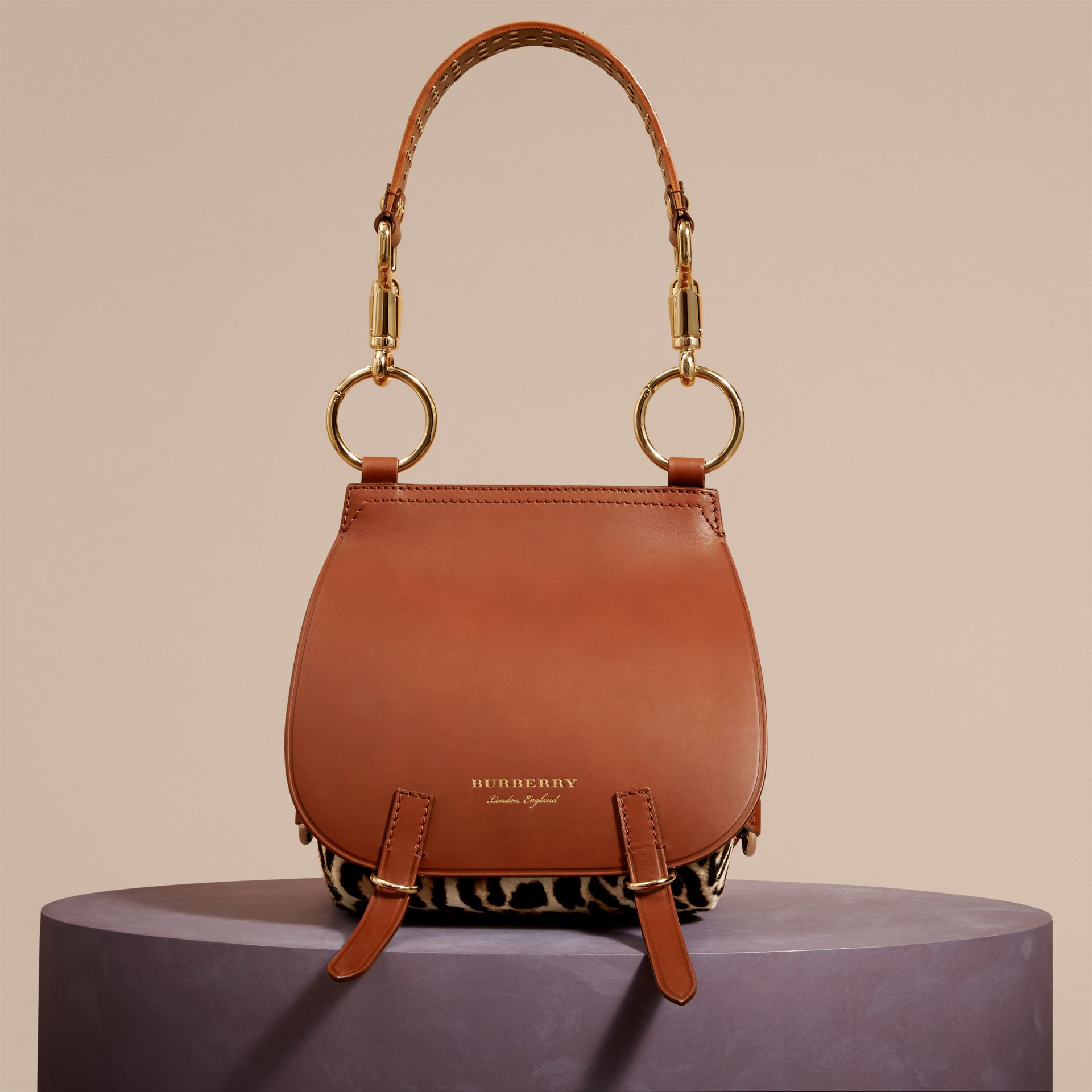 The Bridle Bag in Leopard-print Calfskin and Leather in Tan - Women | Burberry - gallery image 8
