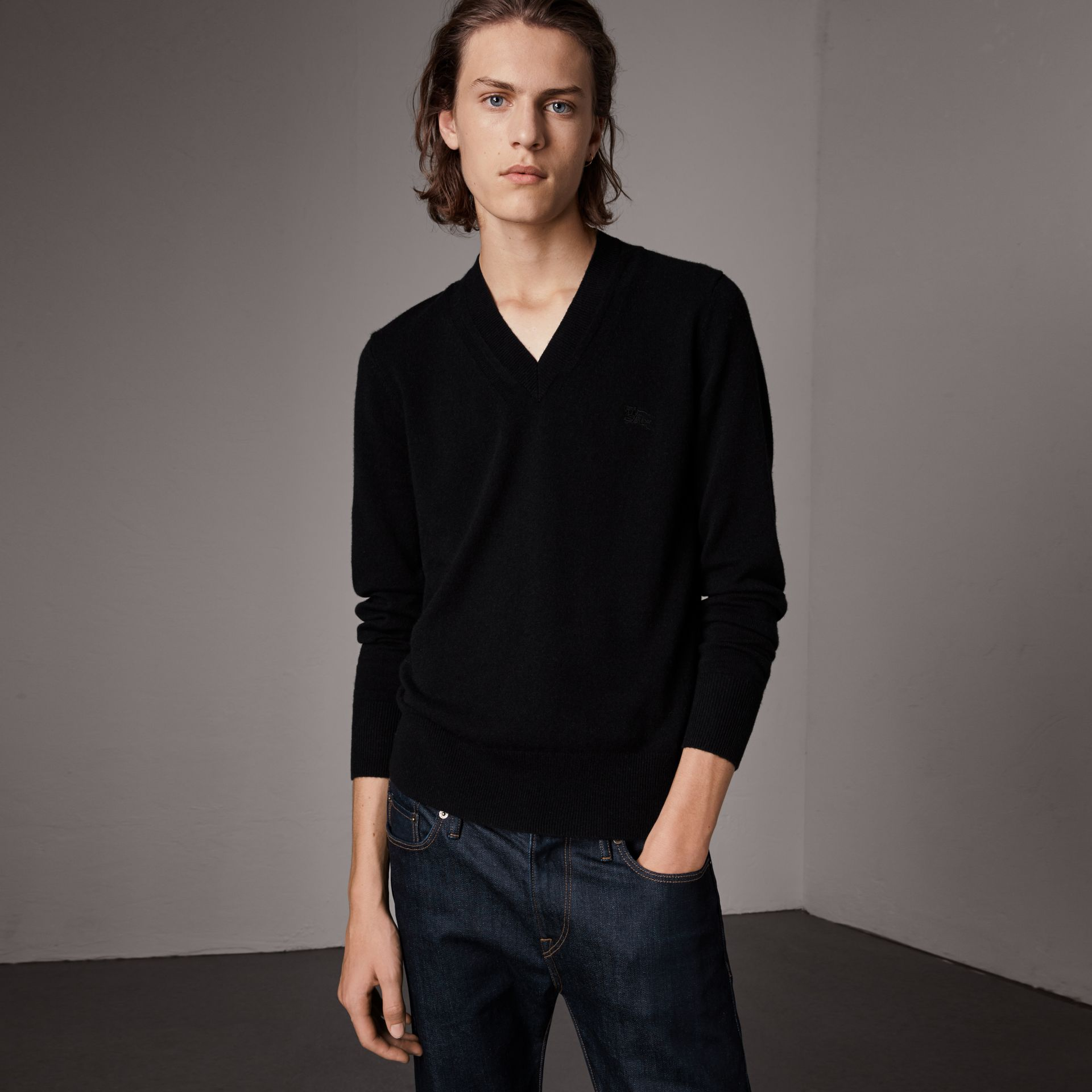 Cashmere V-neck Sweater in Black - Men | Burberry - gallery image 0
