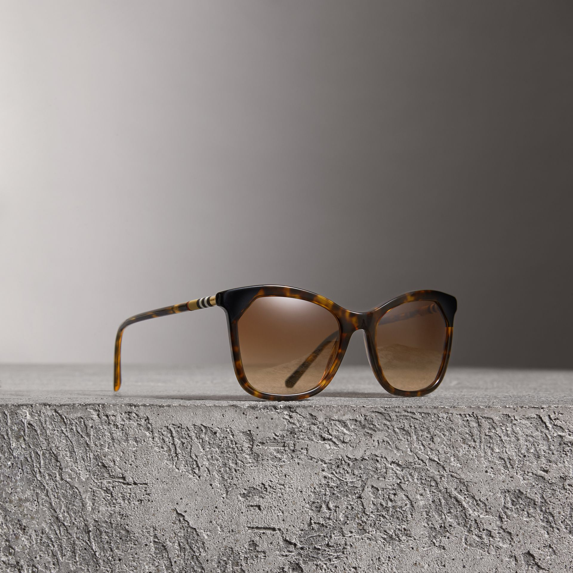 Tortoiseshell Square Frame Sunglasses in Brown - Women | Burberry - gallery image 0