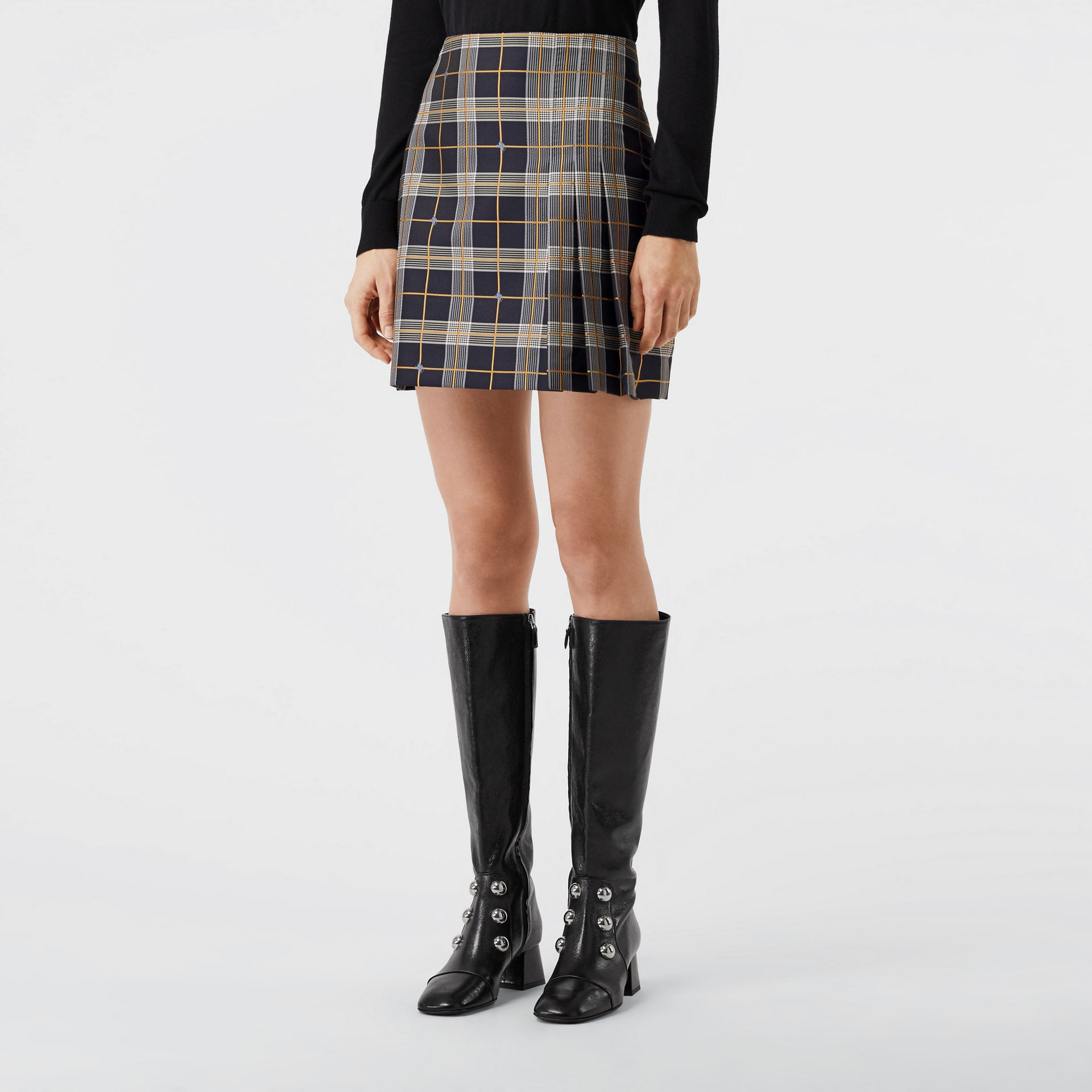 Pleat Detail Check Mini Skirt in Navy - Women | Burberry Canada - gallery image 4