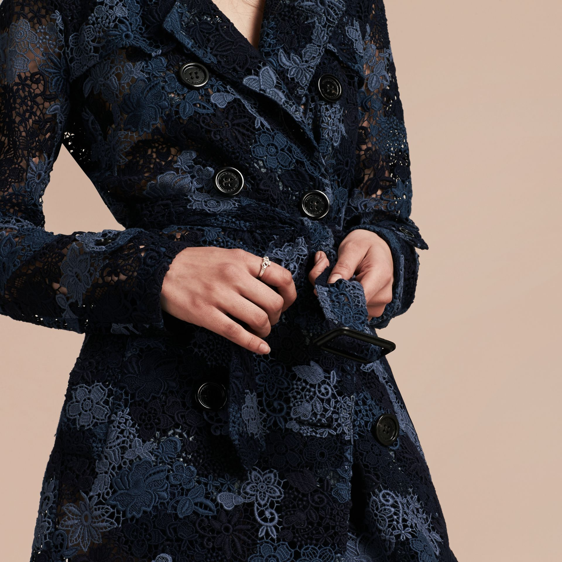 Ink blue Floral Italian Macramé Lace Trench Coat - gallery image 4