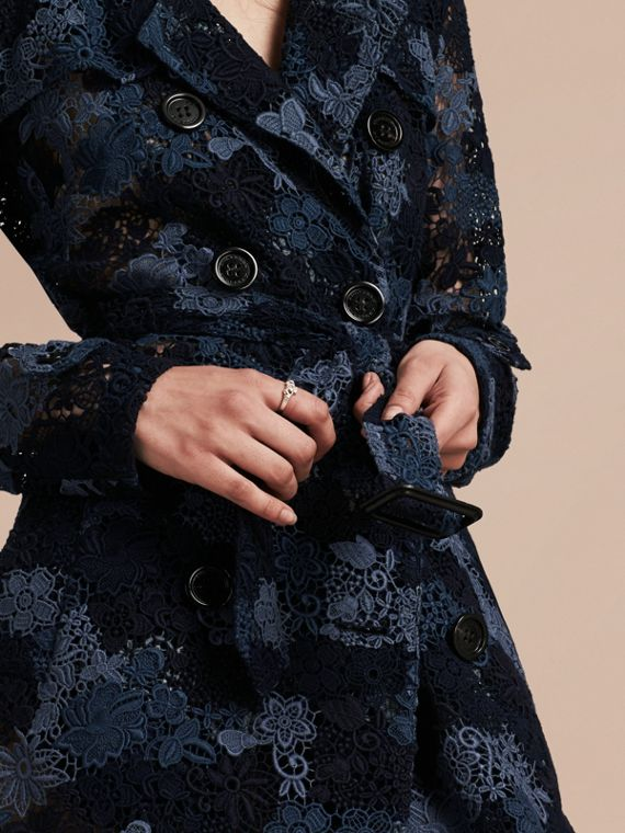 Ink blue Floral Italian Macramé Lace Trench Coat - cell image 3