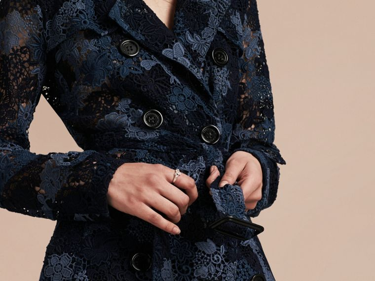 Ink blue Italian Macramé Lace Trench Coat - cell image 4