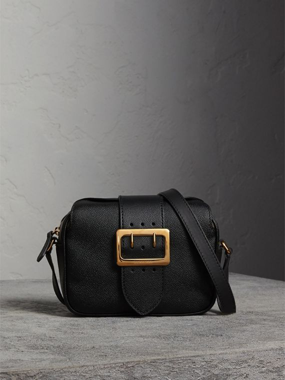 The Small Buckle Crossbody Bag in Leather in Black