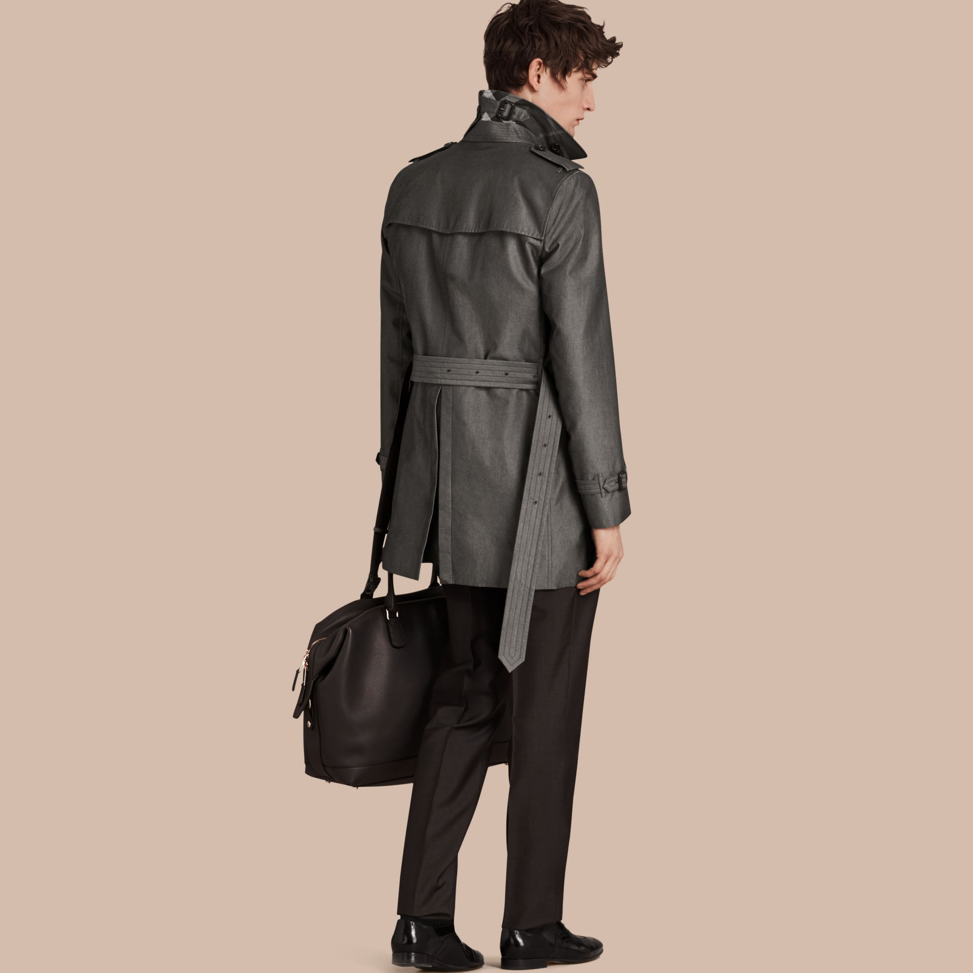 Slate grey Cotton Gabardine Trench Coat Slate Grey - gallery image 2