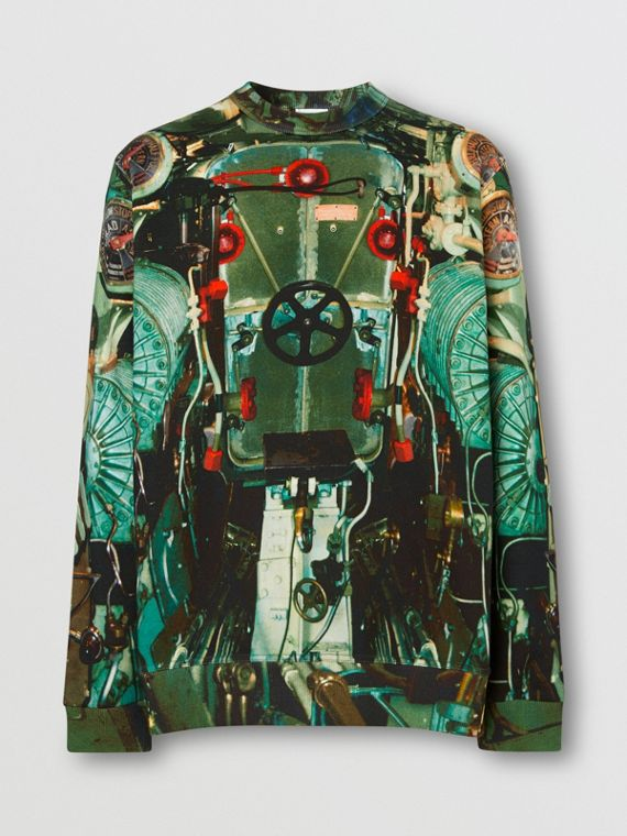 Sweatshirt aus Baumwolle mit U-Boot-Aufdruck (Seladongrün)