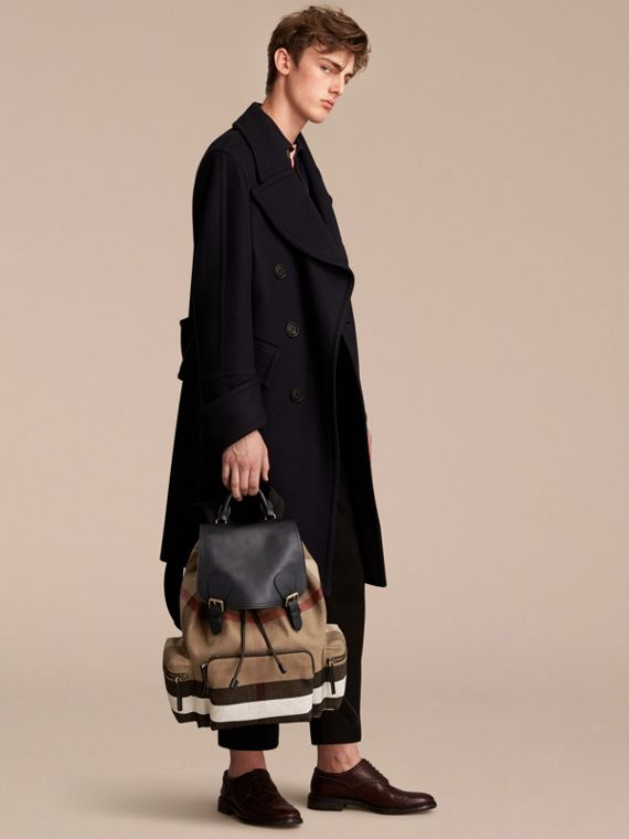The Large Rucksack in Canvas Check and Leather in Classic - Men | Burberry United States - cell image 2