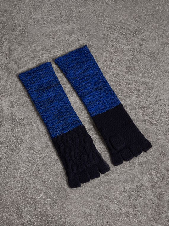 Wool Cashmere Fingerless Gloves in Navy