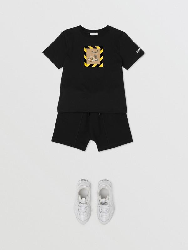 Deer Print Cotton T-shirt in Black   Burberry Australia - cell image 3