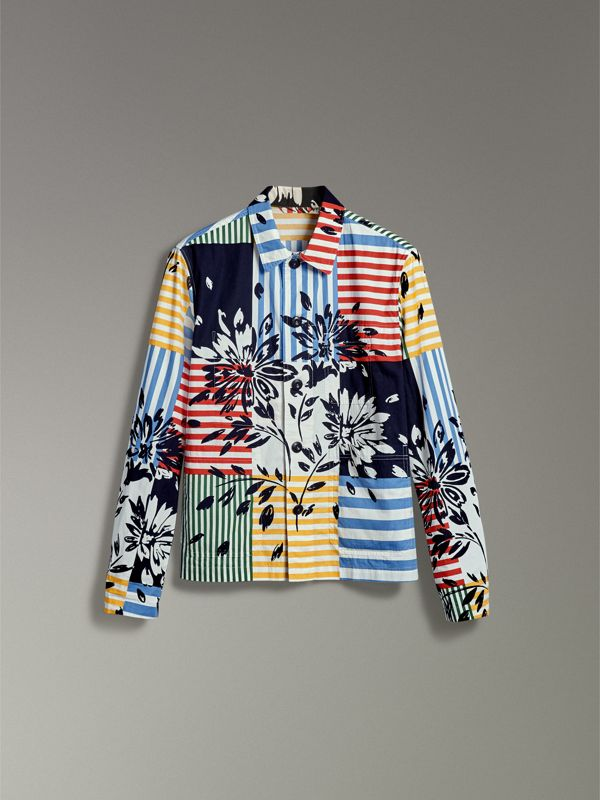 Floral Stripe Print Cotton Overshirt in Steel Blue - Men | Burberry - cell image 3