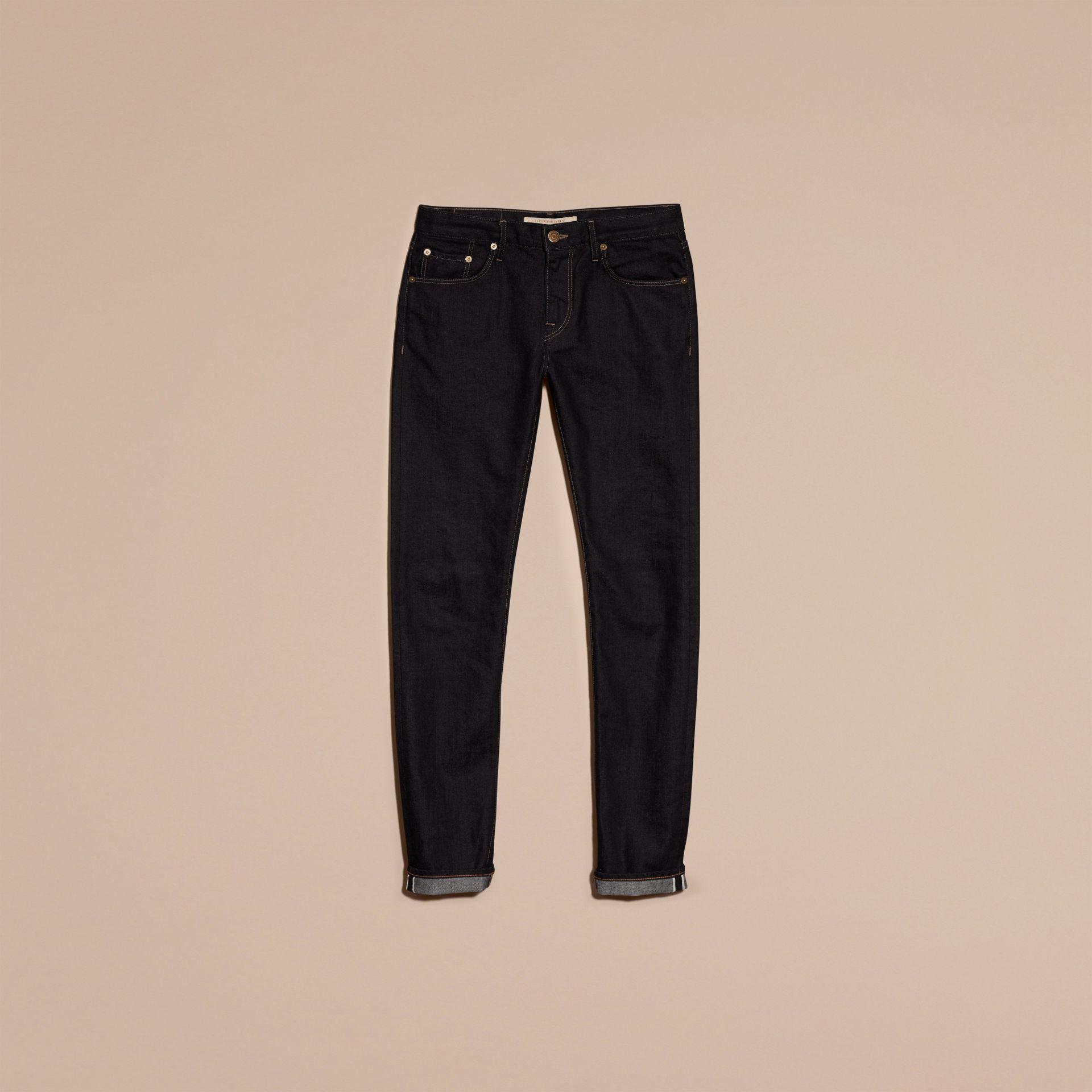 Indigo sombre Jean slim en denim selvedge japonais extensible - photo de la galerie 4