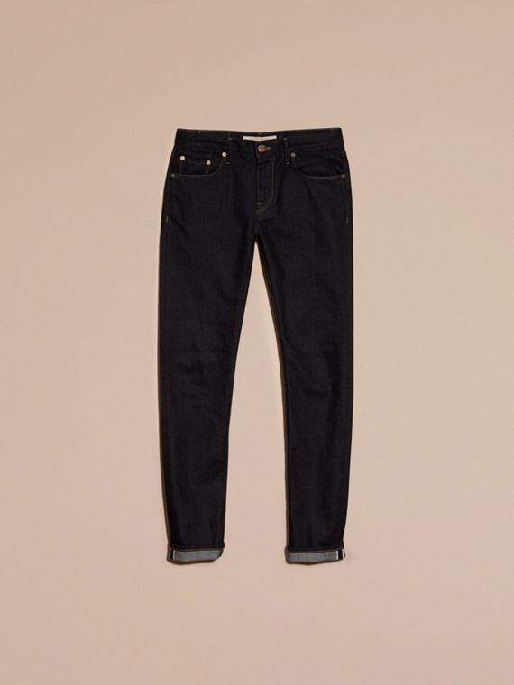 Dark indigo Slim Fit Stretch Japanese Selvedge Denim Jeans - cell image 3