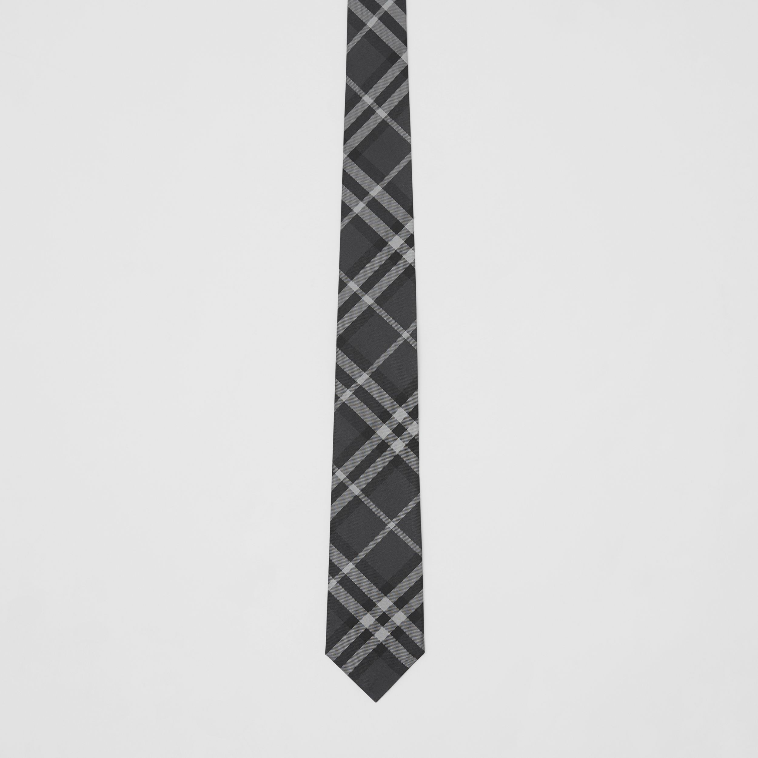 Classic Cut Vintage Check Silk Tie in Charcoal - Men | Burberry - 4