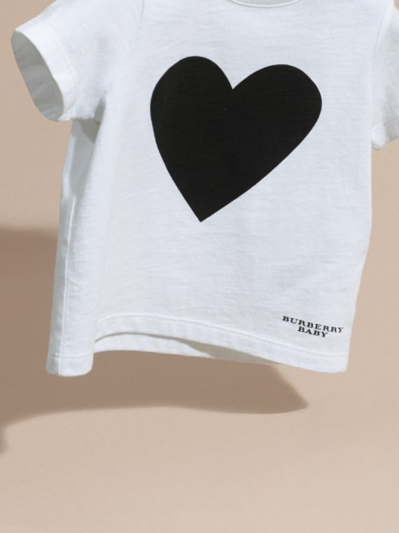 Noir T-shirt en coton avec imprimé à cœurs Noir - cell image 2