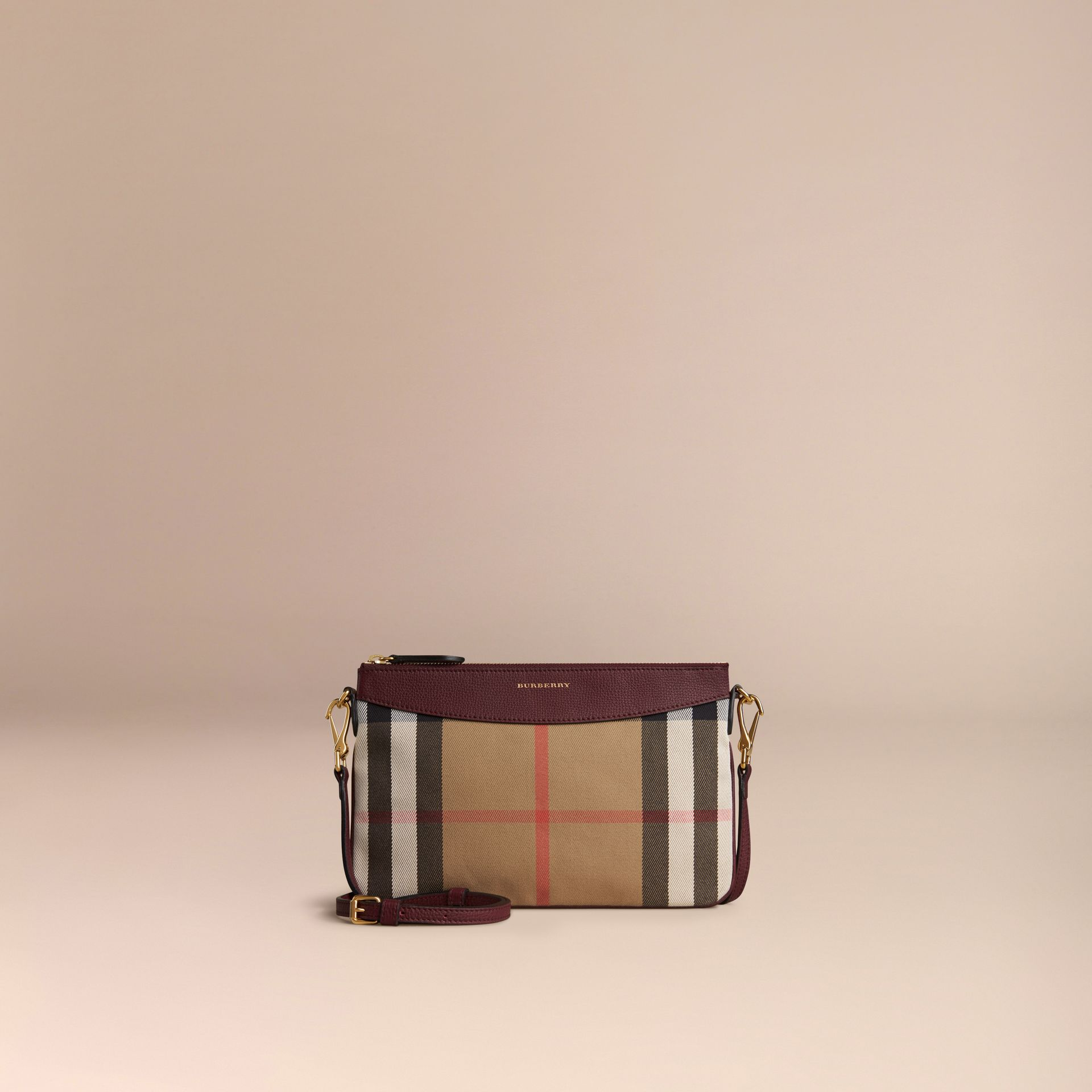 House Check and Leather Clutch Bag in Mahogany Red - gallery image 7