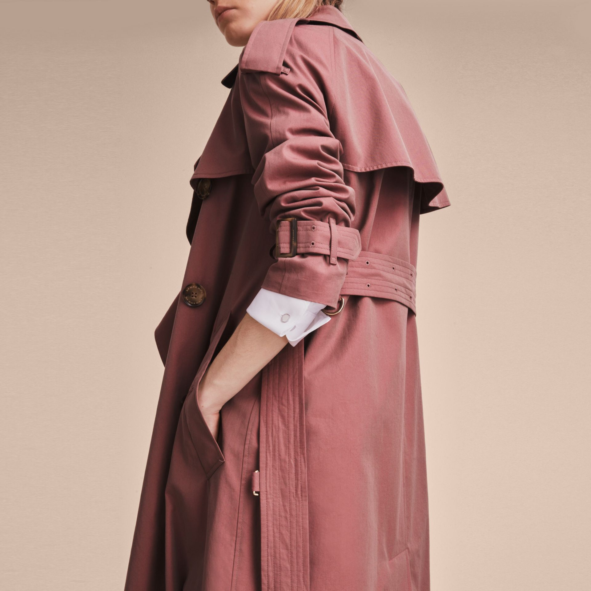 Tropical Gabardine Trench Coat in Antique Rose - Women | Burberry Singapore - gallery image 6